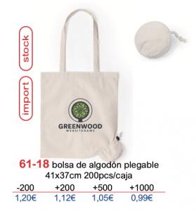 Bolsa de algodon con logo plegable