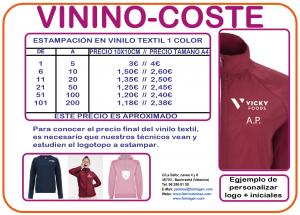 Coste de estampar con vinilo textil