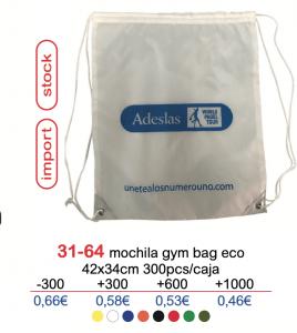 Mochila de nylon con logo tipo gymbag